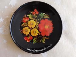 Virágdíszes fém tányér, tálka, kínáló: Hajdúszoboszlói Emlék