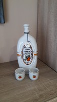 Hollóházi porcelán pálinkás butélia +pohár