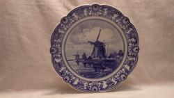 PS Delft Schoonhaven porcelán festett tájképes tányér
