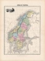 Svédország és Norvégia térkép 1880, francia, atlasz, eredeti, 34 x 47 cm, Európa, észak, Skandinávia
