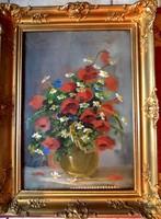 """BIRÓ Lajos (127-2010) """"Pipcsoa csendélet"""" Antik értékálló gyönyűű festmény"""