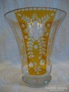 Csiszolt  színes üveg váza