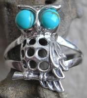925 ezüst gyűrű türkizzel, 17,9/56,2 mm bagoly alak