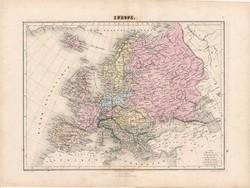 Európa térkép 1880, francia, atlasz, eredeti, 34 x 47 cm, XIX: század, régi