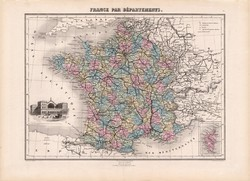 Franciaország megyei térkép 1880, francia, atlasz, eredeti, 34 x 47 cm, megye, Európa, régi