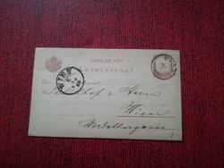 1882-es Levelezőlap 2 kr GYŐR-WIEN
