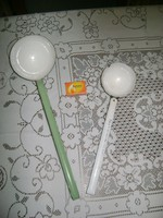 Régi zománcos merőkanál - két darab