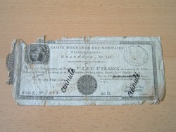 FRANCIA 20 FRANK FRANCS 1801 ROUEN 1797-1803 ISSUE, Date: 1 er Frimiarie AN10