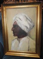 Friedl Pál (1893 - 1976) festménye. Szerecsen fiú - tempera, cca. 1930-as évek!