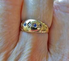 Szépen megőrzött antik gyémánt zafír 18kt arany gyűrű akció!!