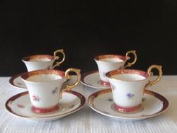 4 személyes jelzett német PM porcelán kávés szett