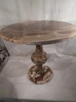 Asztal - Antik - MÁRVÁNY - restaurált  - 51 cm magas - átmérő 54 cm - tükörfényes 28 kg
