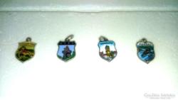 4 db Ausztria Tartományai Címeres Ezüst Zománc Medalionok