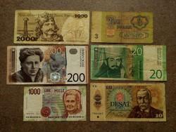 6 db külföldi bankjegy vegyesen/id 7637/