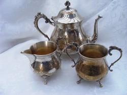 Álomszép, jelzett,antik, cizellált, ezüstözött alpakka teás kanna tejszínes kiöntővel, cukortartóval