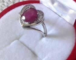 Hatalmas valódi vörös rubin 925 gyűrű 53/16,9