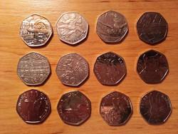 Pénz érme 12 db angol 50 penny különféle alkalmi veretek