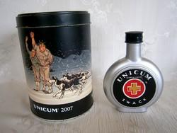Unicum fém doboz téli jelenetes képpel és fém flaska, zsebkulacs