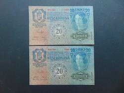 2 darab 20 korona 1913 Sorszámkövető Szép ropogós bankjegyek