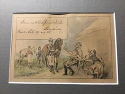 Nagy Sándor (1869-1950) Fogadó, répcelak-1891 ajánlással. Papír, tus, akvarell