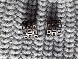 Art deco vastagon ezüstözött fülklipsz - fülbevaló