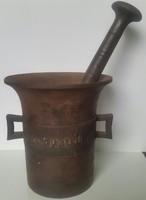 Mozsár öntött vas Pro patria, 1914-1916,mérete magassága:15,5cmX15cm,a törő hossza:26cm