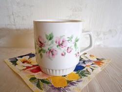 Régi virág mintás Zsolnay porcelán bögre, csésze
