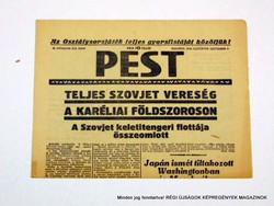 1941 szeptember 4  /  PEST  /  Régi ÚJSÁGOK KÉPREGÉNYEK MAGAZINOK Szs.:  9007