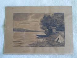 Balaton - nagyon régi akvarell festmény