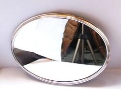 Ezüst/fa tükrös tál.