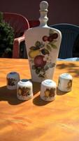 Nagyon ritka Alföldi porcelán pálinkás készlet: butella 4 db kupicával