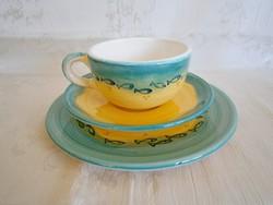 3 részes, 1 személyes kézzel festett kerámia majolika reggeliző teás készlet 2.