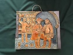 Zsolnay? pirogránit falikép patika motívummal Gyógyszertár III.