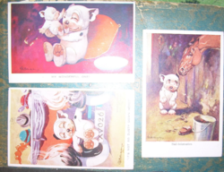 Studdy Bonzo /Bonzó Muki/ 3 db régi képeslap