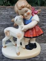Sitzendorf  porcelán, kislány báránnyal