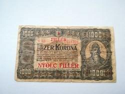 1923-as 1000 Korona 8 Fillér felülbélyegzett RR!
