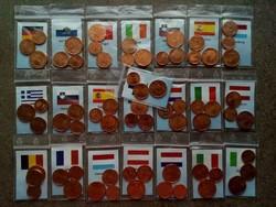 22 ország Euro centjei UNC állapotban, igényesen kigyűjtve/id 8280/