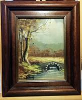 A híd - Jelzett,mesés tájkép, kerettel, olaj