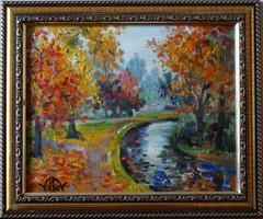 Volkov Mihail - Őszi parkban c. festménye