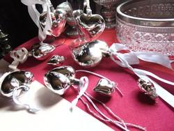Régi üveg ezüst szív karácsonyfadíszek 8 db + ajándék