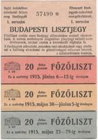 BUDAPESTI LISZTJEGY - 1915
