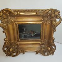 Szignált eredeti Giszinger Imre olaj, fa festmény extra eredeti épített blondel keretében