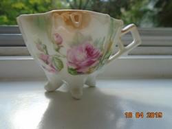 Antik 4 lábas kézzel festett rózsás,gyöngyház mázas bidermaier kávés csésze