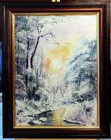 Czinóber - Fagyos napsugarak ( 40 x 30 cm, olaj, gyönyörű keretben )