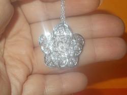 3D-s Virág ezüst - fehérarany  Nyaklánc