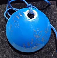 Hollóházi Diké Floral kék prcelán medál