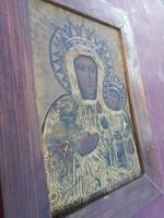 Antik, kézzel festett Lengyel ikon, 1900-as évek.
