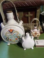 3 db hibátlan , porcelán kulacs 2 db kicsi Zsolnay és 1 db nagy Drasche egyben .