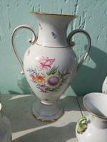 Hollóházi hatalmas, kézzel festett váza, 41 cm.