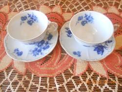 Zsolnay kék rózsás kávés csészék és kistányérok 2 db